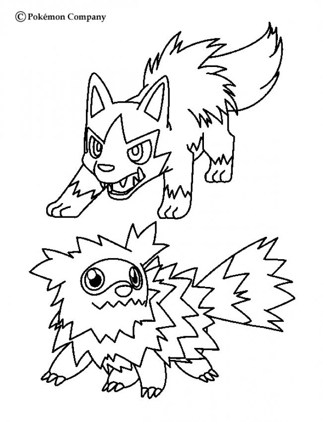 pokemon battles coloring pages zigzagoon and mightyena