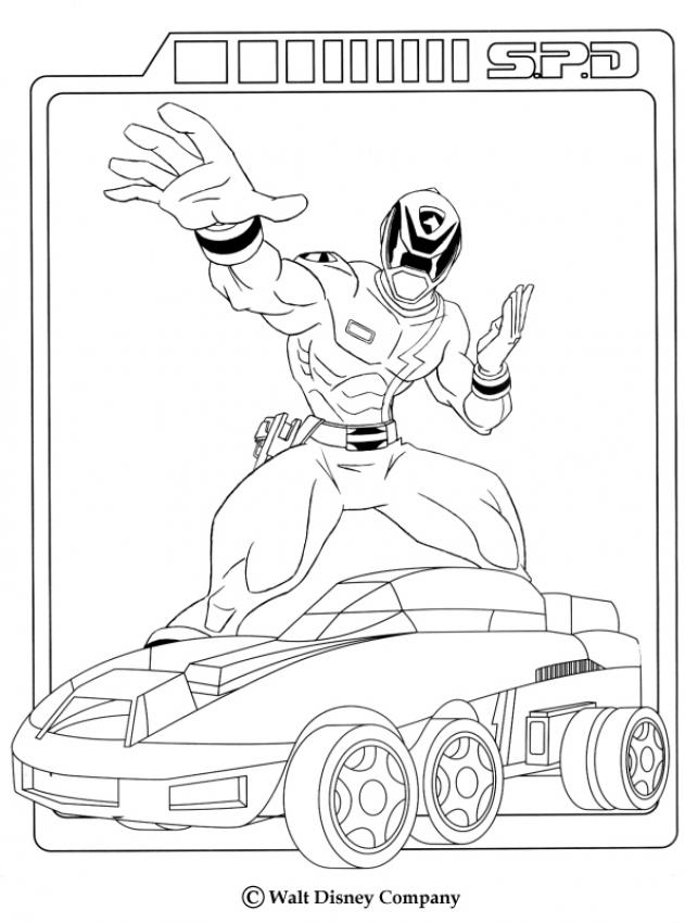 Páginas para colorir POWER RANGERS - O carro dos Power Ranger