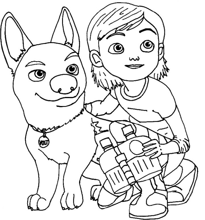 Bolt With Penny Along Coloring For Kids - Bolt Coloring Pages - AZ ...