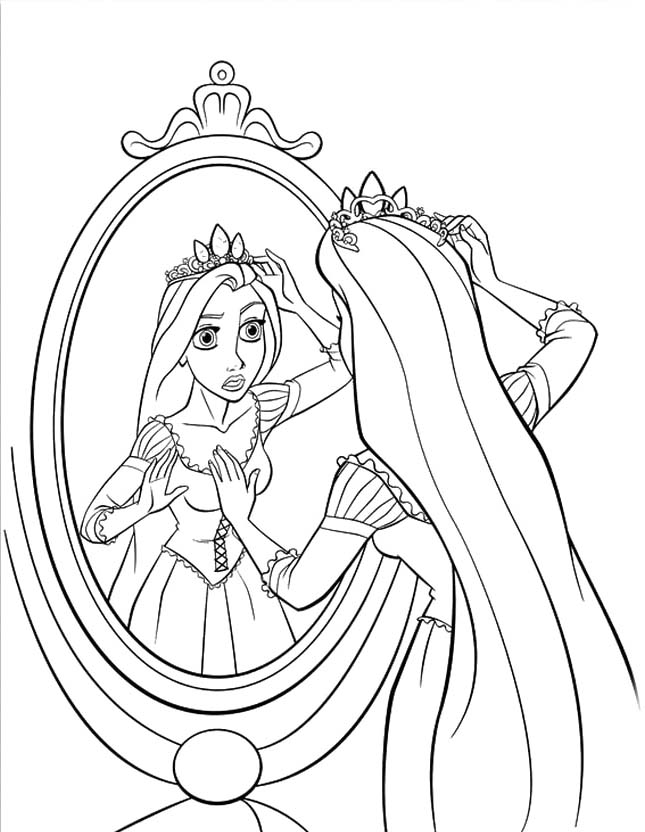 Princess Rapunzel Is Looking In Front Of The Mirror