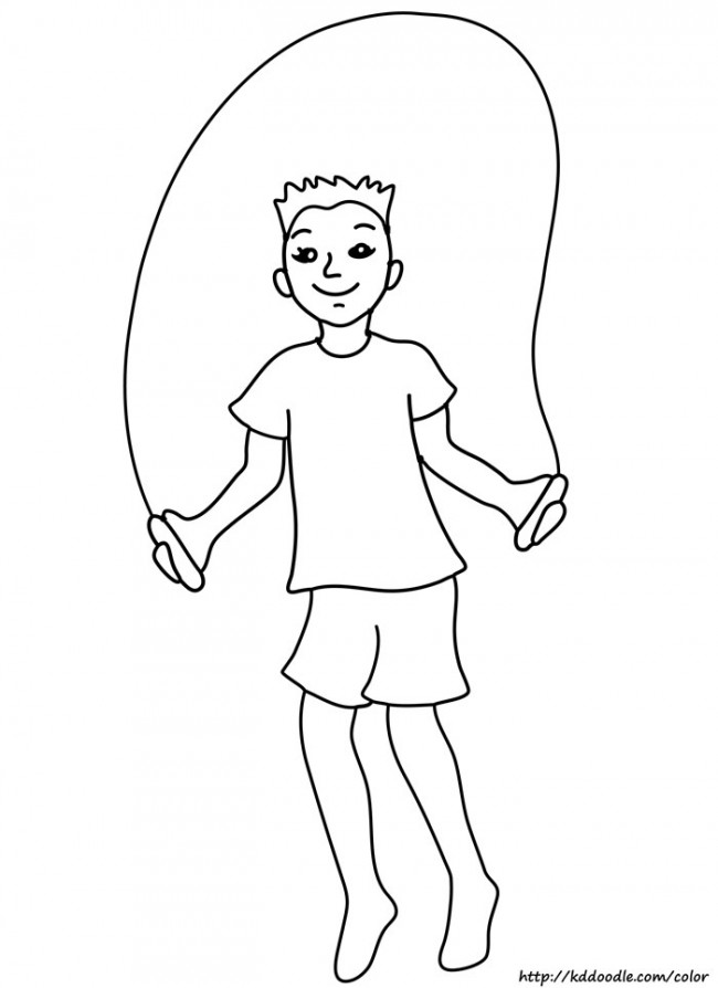 Coloring Page Boy Running