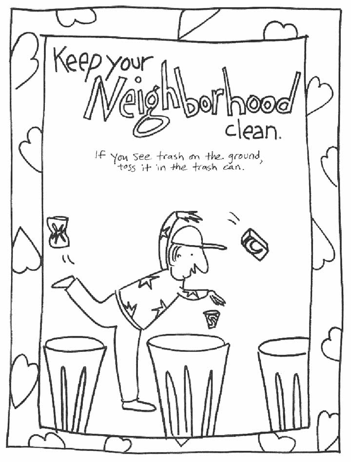 trash can coloring pages - photo#28