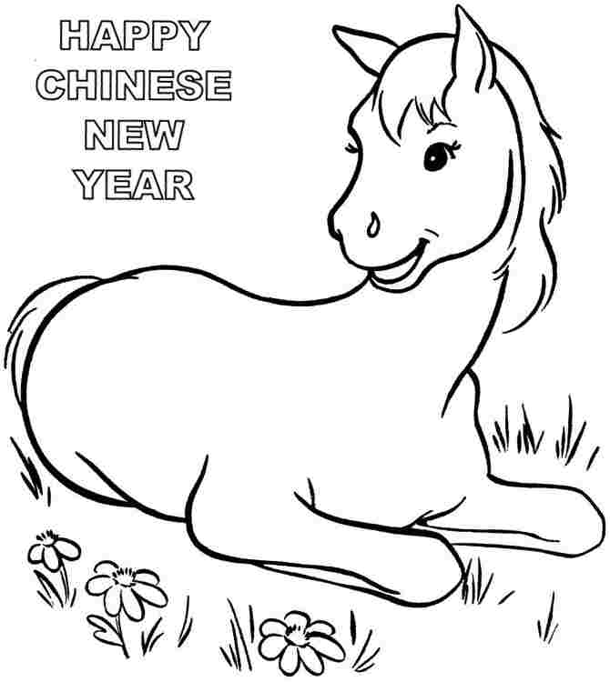 new years coloring pages 2014 - wooden horse chinese new year 2014 colouring pages