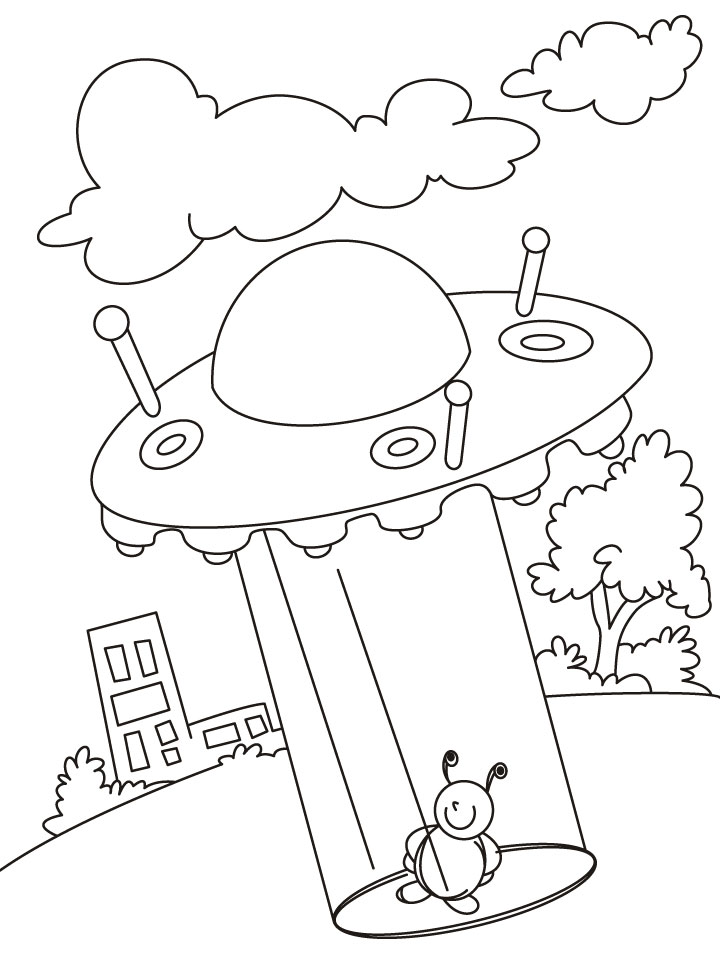 UFO SPACECRAFT Coloring Pages with Alien for Kids l Learning Videos Colouring
