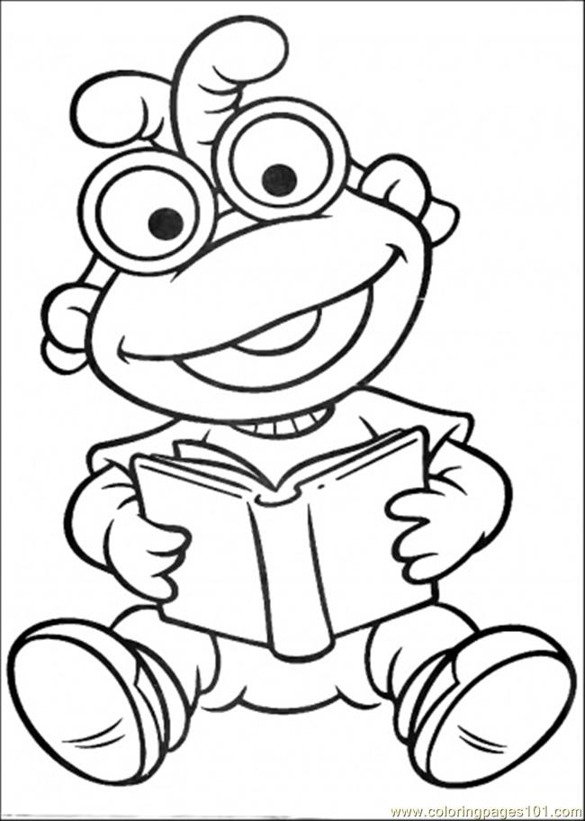 Coloring Pages The Baby Is Reading A Book (Cartoons > Muppet