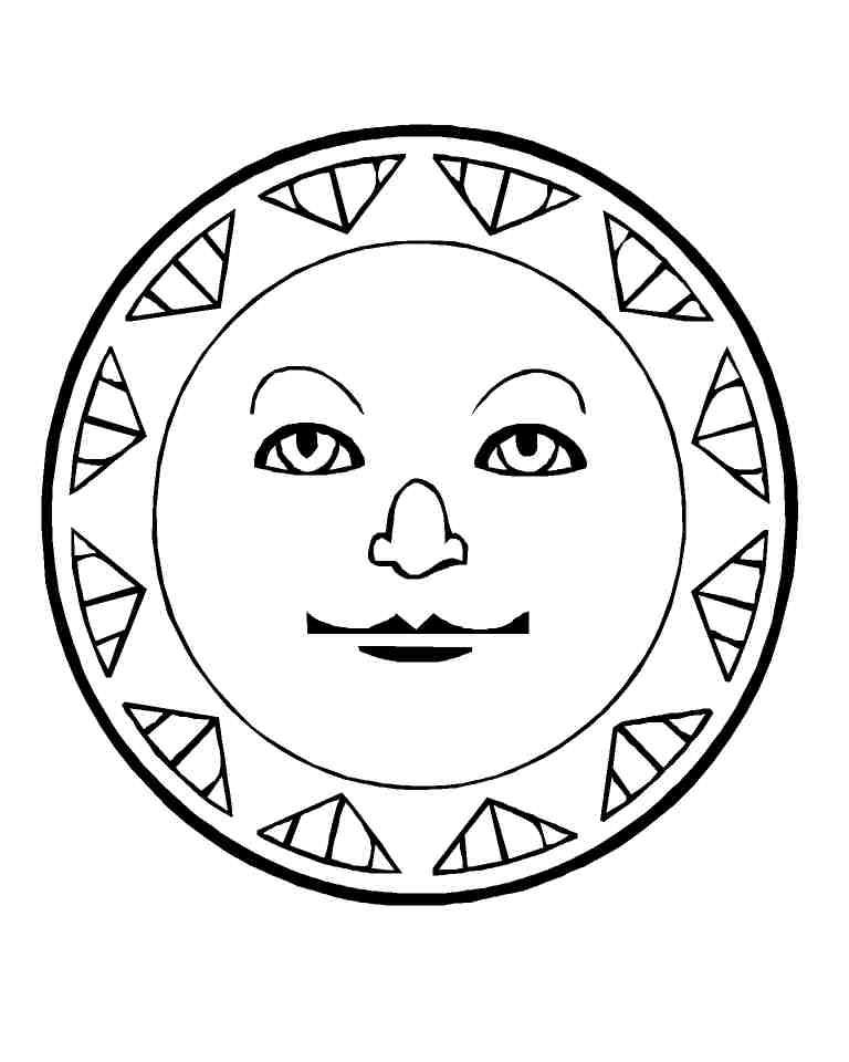 Free Coloring Pages Of Aztec Sun God