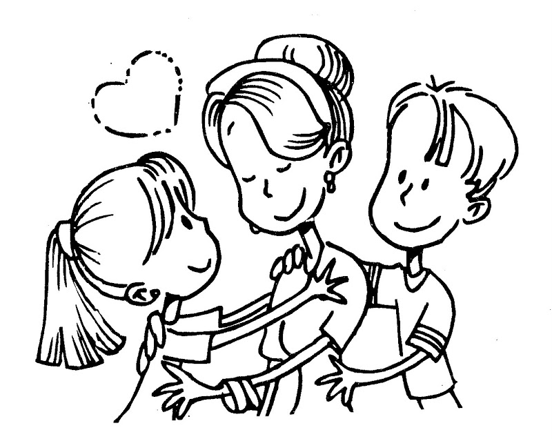 Mom Hugging Son Coloring Pages