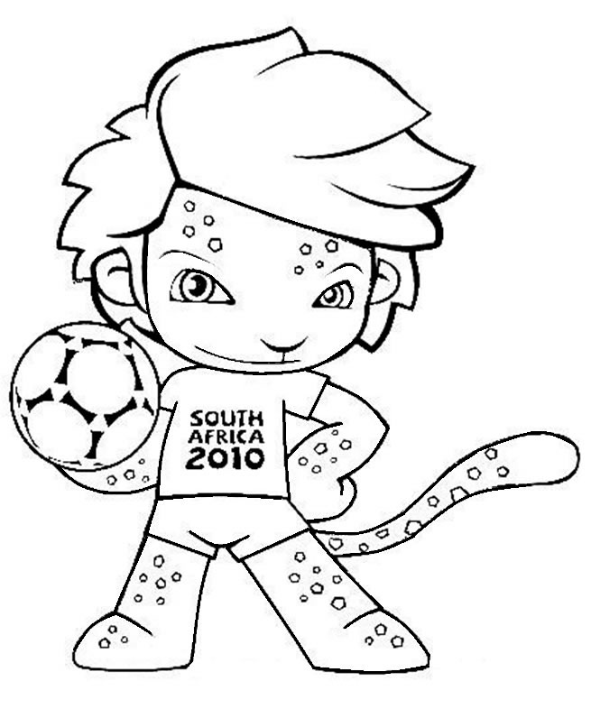 Mascote da Copa do Mundo 2010 para colorir. Mascote África do Sul