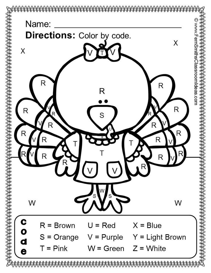 Thanksgiving Fun! Letters And Numbers - Color Your Answers Printables ...