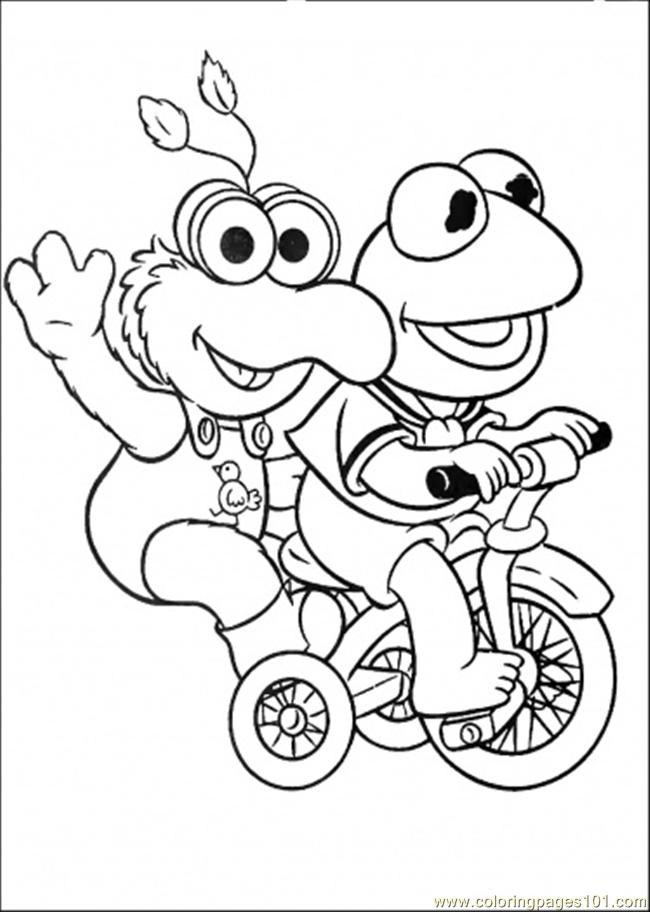 Coloring Pages Elmo And His Friend Is Riding A Bicycle (Cartoons
