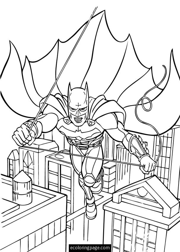 Batman Dark Knight Swinging In Gotham City Coloring Page Printable ...