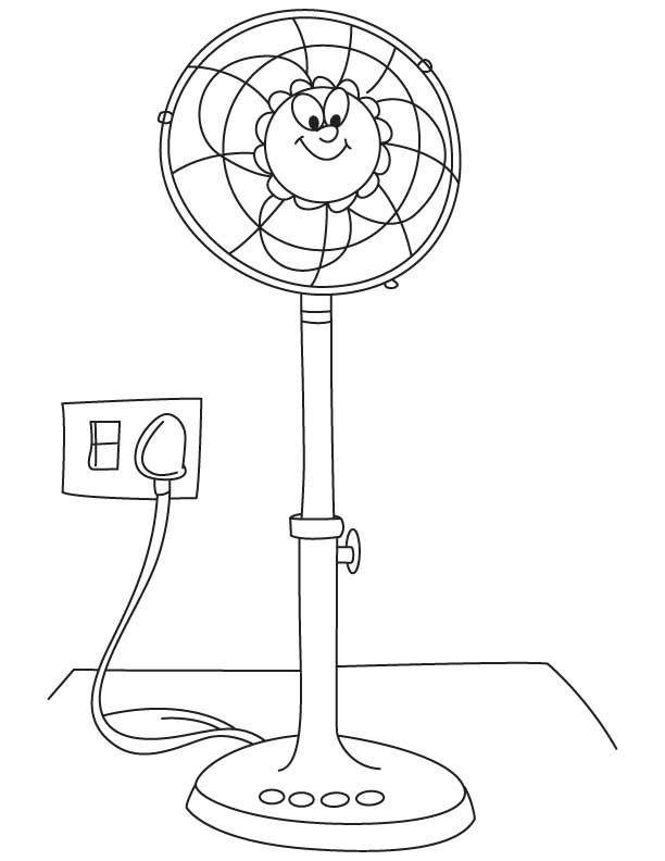 electric fan coloring page sketch coloring page
