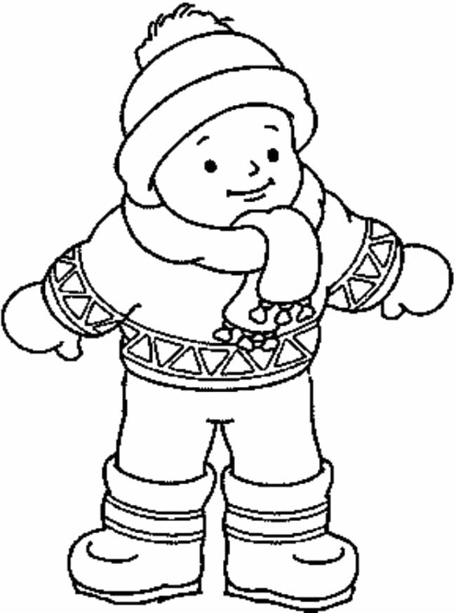 Coloring pages of children wearing afo ~ Winter Clothes That Wear A Child Coloring Coloring For ...