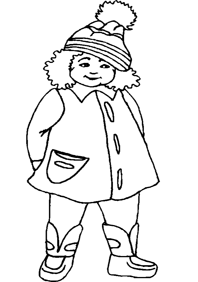 The girl using winter coat coloring pages winter for Winter coat coloring page