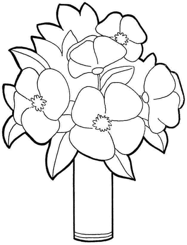 flower coloring pages for preschoolers - printable free bouquet flowers coloring sheets for