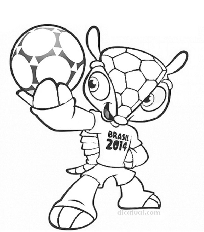 Colorir Mascote Copa do Mundo 2014