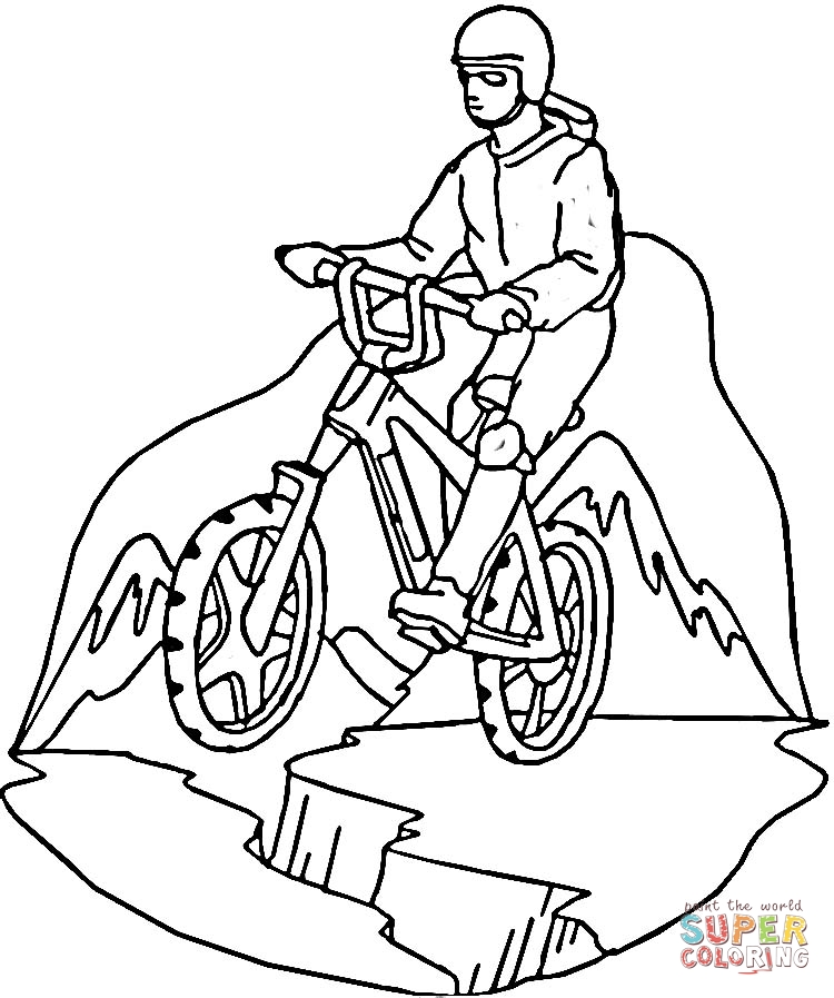 Mountain Biking coloring page | SuperColoring.