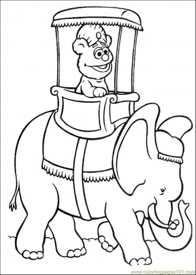 Coloring Pages Elmo Is Riding An Elephant (Cartoons > Muppet