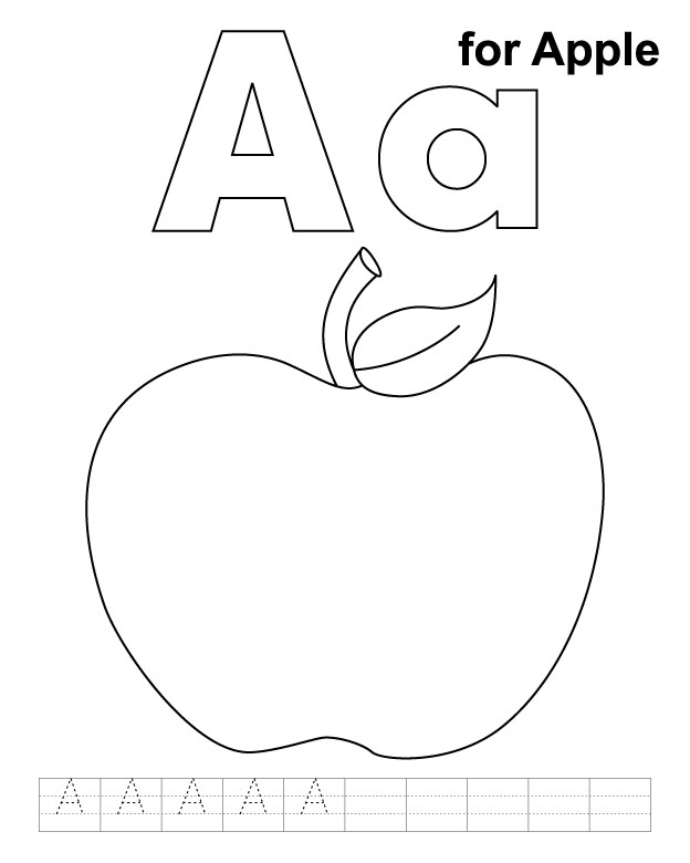 Letter Aa Printable Coloring Pages Apple Color Sheet Free ...