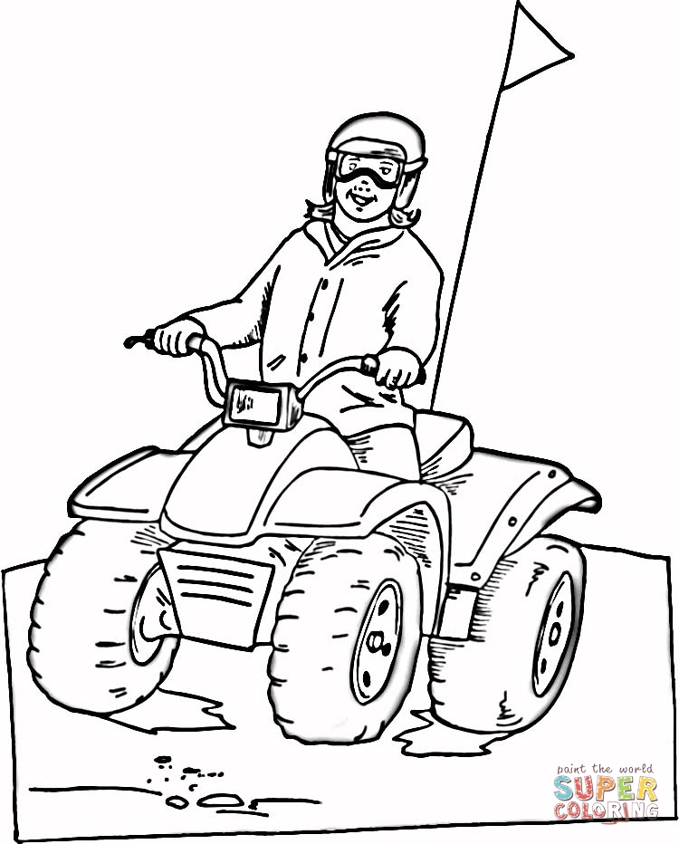 Rides on Atv coloring page | SuperColoring.