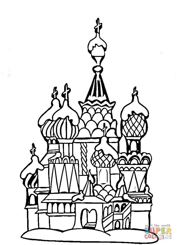 Center of moscow coloring page az for Cathedral coloring pages