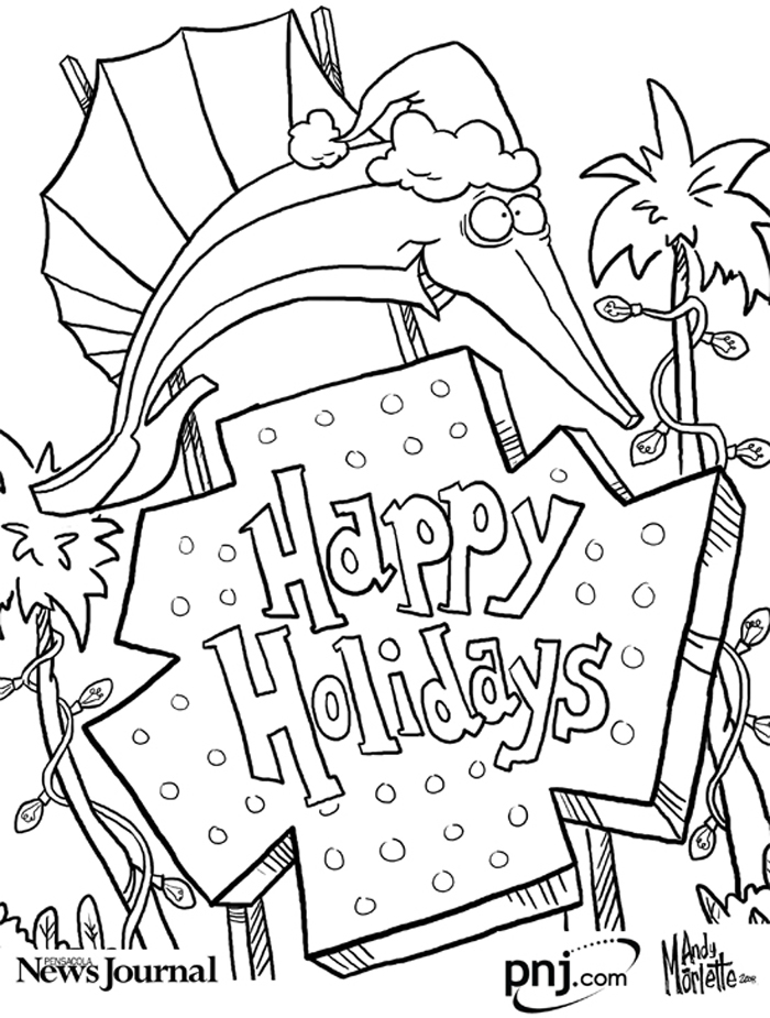 Color This Pensacola Themed Christmas Scenes