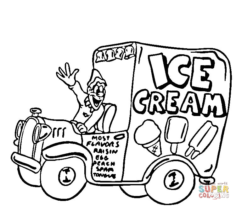 Ice Cream Truck coloring page | SuperColoring.
