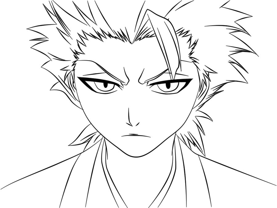 Deviantart more like lineart ichigo 344 bankai13 by for Ichigo coloring pages